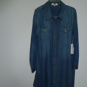 NEW Two by Vince Camuto denim tunic top shirt L